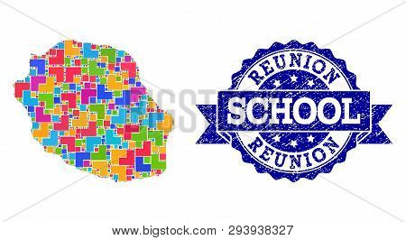 Mosaic Puzzle Map Of Reunion Island And Corroded School Seal Stamp With Ribbon. Vector Map Of Reunio