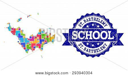 Mosaic Puzzle Map Of Saint Barthelemy And Rubber School Seal With Ribbon. Vector Map Of Saint Barthe