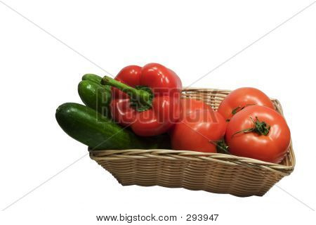 Basket With Vegetables On White Background