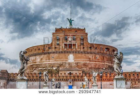 View Of Castel Sant'angelo Fortress In Rome, Italy