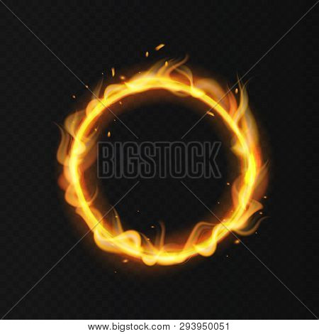 Fire Ring. Realistic Burning Flame. Fiery Circus Circle Hot Hoop Warm Fire Blazing Effect Red Flamin