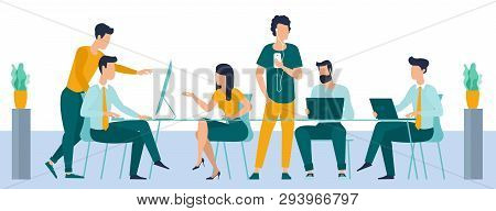 Vector Illustration Of Coworkers Are Communicating In Office. Man And Woman In Coworking Open Space
