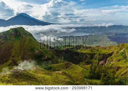 Active Indonesian Volcano Batur In The Tropical Island Bali. Indonesia. Batur Volcano Sunrise Sereni