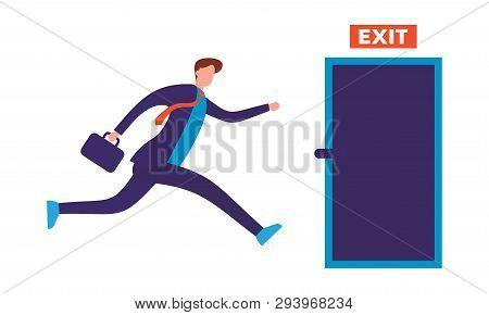 Businessman Run To Open Exit Door Vector Concept In White Background. Emergency Escape And Evacuatio