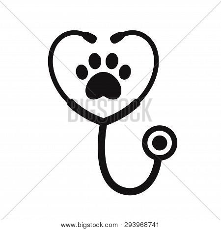 Stethoscope Silhouette With Animal Paw Print Symbol. Veterinary Medicine Logo, Isolated Vector Illus