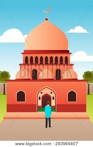 A Vector Illustration Of Muslim Man Going To Mosque For Prayer