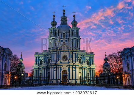 Smolny Cathedral Under Night Sky, Saint Petersburg, Russia. Panoramic City Scene At Daybreak. Front