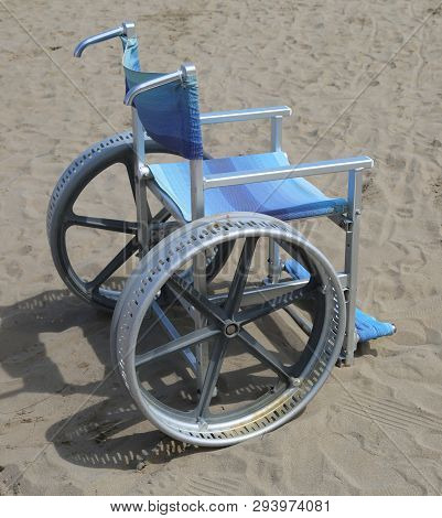 Special Wheel Chair To Move On The Sand Without People