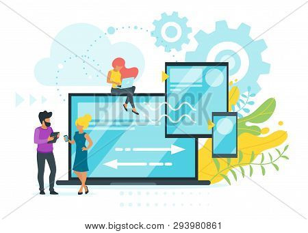 Cross Platform Concept. People Using Different Devices Or Developing Adaptive Ui Design For Digital