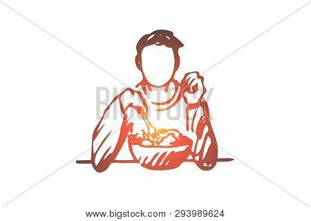 Man, Eating, Salad, Food, Nutrition Concept. Hand Drawn Man Eating Salad Concept Sketch. Isolated Ve