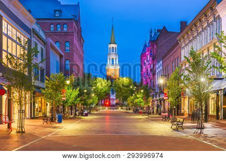 Burlington, Vermont, USA at Church Street Marketplace.