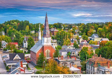 Montpelier, Vermont, USA town skyline at dusk.