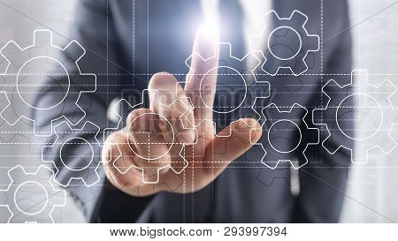 Gears Mechanism, Digital Transformation, Data Integration And Digital Technology Concept.