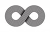 Black infinity, moebius  symbol,  or limitless sign isolated on white background. Creative infinite or eternity endless icon poster