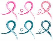 Set of six breast cancer and ovarian cancer ribbons in watercolor. With female gender symbol. Isolated over white background. Vector file saved as EPS AI8 all elements layered grouped no effects easy edit and print. poster