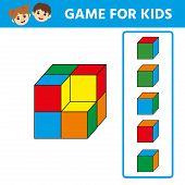 Education logic game for preschool kids. Kids activity sheet.   Find the  the right cube. Children funny riddle entertainment. Vector illustration poster