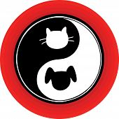 An atypical yin yang symbol inside a red circle with a cat and dog engaged in the endless chase. poster