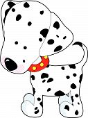 A cartoon of a Dalmatian on a white background poster