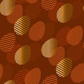 Geometry textured Easter egg seamless pattern in deep natural terra cotta brown colors and gold foil. Elegant flat repeatable motif for fabric, wrapping paper, surface design, web background. vector illustration. poster