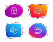 Heart, Customer satisfaction and Star icons simple set. Undo sign. Social media, Happy smile, Phone feedback. Left turn. Technology set. Speech bubble heart icon. Colorful banners design set. Vector poster