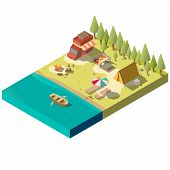 Campsite on river shore isometric projection vector with camping van, tourist tent, fireplace, dinner table and boat with oars in water illustration. Family outdoor recreation, country travel concept poster