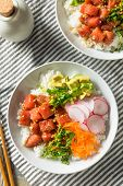 Homemade Ahi Tuna Poke Bowl with Rice and Vegetables poster
