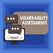 Handwriting text writing Vulnerability Assessment. Concept meaning defining identifying prioritizing vulnerabilities Blank Computer Monitor and Two Speech Balloon with Three Dots for Chat Icon. poster