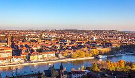 Wurzburg cityscape with the town and bridge over the Main river