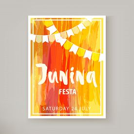 Festa Junina Holiday, Night Beach Party. Folklore Fest. Hipsters Party Template Flyer Or Banner. Wat