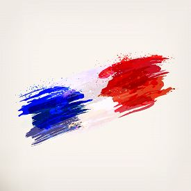 French Hand Drawn National Flag. Watercolor Background, Ink Stains, Tricolor. Template For Creative
