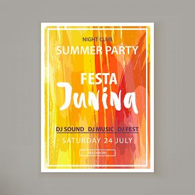 Festa Junina Holiday. Night Club Party. Folklore Fest. Banner For Night Club. Watercolor Background.