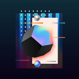 Abstract Geometric Background. Modern Futuristic Cover Design. 3d Gradient Shapes Composition.colorf