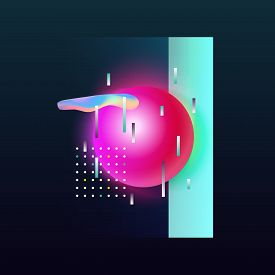 Abstract Geometric Background. Modern Cover Design. 3d Gradient Shapes Composition.colorful Gradient