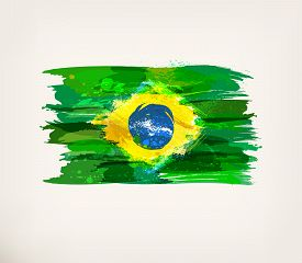 Brazilian Flag. Watercolor Hand Drawn National Flag. Watercolor Background, Ink Stains, Colors In Br