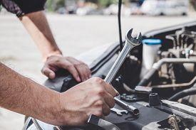 Services Car Engine Machine Concept, Automobile Mechanic Repairman Hands Repairing A Car Engine Auto