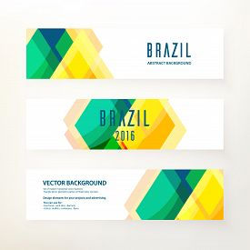 Set Of Modern Horizontal Vector Banners. Triangle Decor, Geometric Pattern In Brazil Color Concept.