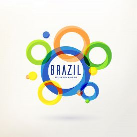 Abstract Modern Geometric Background. Circular Ornament, Geometric Pattern In Brazil Color Concept.