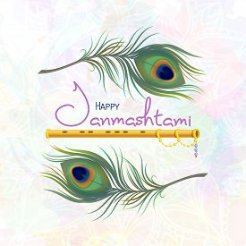 Happy Janmashtami. Greeting Card For Krishna Janmashtami. Indian Fest - Celebrating Birth Of Krishna
