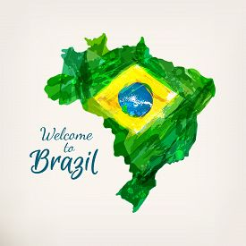 Map Of Brazil. Watercolor Hand Drawn Brazilian Map With National Flag. Welcome To Brazil. Watercolor