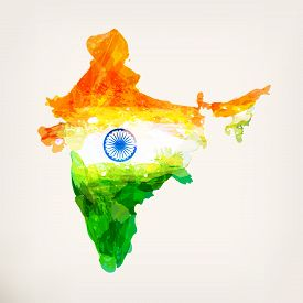 Indian Hand Drawn Watercolor Map. Watercolor Background In National Tricolors. India Independence Da