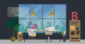 Design Of Modern Office Designer Workplace. Creative Office Workspace With Big Window, Desktop, Mode