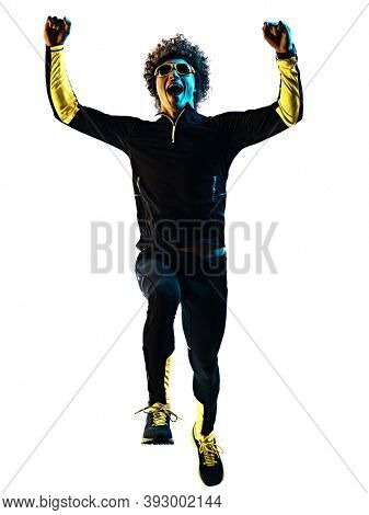 one youg caucasian runner jogger running jogging man in studio shadow silhouette isolated on white background
