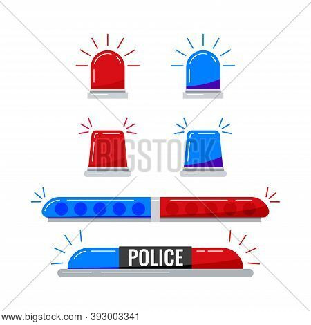 Police Car Red Blue Lights Set Isolated On White Background. Police Flashers Siren Vector Illustrati
