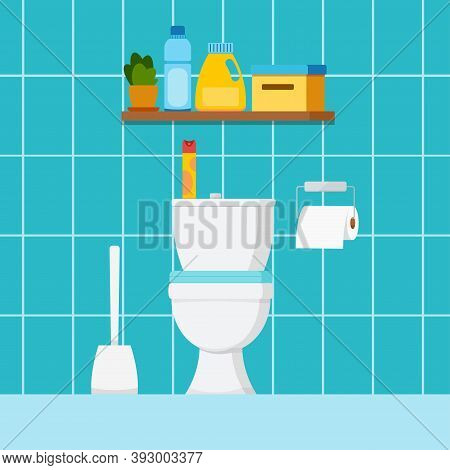Toilet Home Room Interior With Plumbing. Wc House Or Hotel Room Design With Toilet Bowl, Toilet Pape
