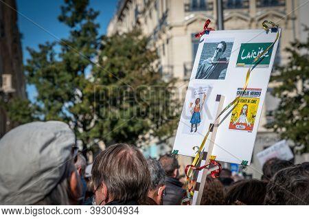 Lyon, France - October 18, 2020 : Anti Terrorism Protest After 3 Days Islamic Terrorist Attacks : Pr