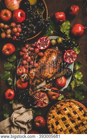 Autumn Thanksgiving, Friendsgiving, Family Gathering Dinner. Flat-lay Of Fall Table With Roasted Duc