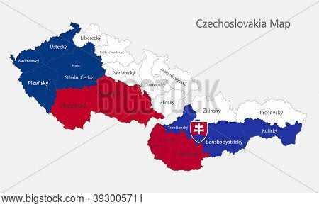 Map Of The Czechoslovakia Map In The Colors Of The Flag With Administrative Divisions Vector