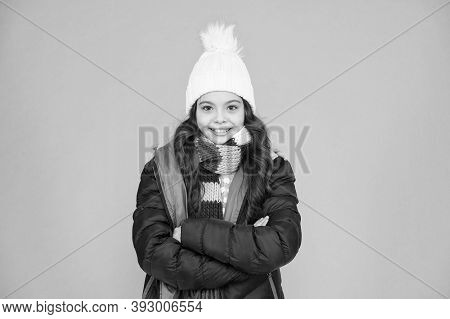 Fashion Trend. Little Kid Wear Hat And Jacket Blue Background. Winter Sports. Cold Season Shopping.