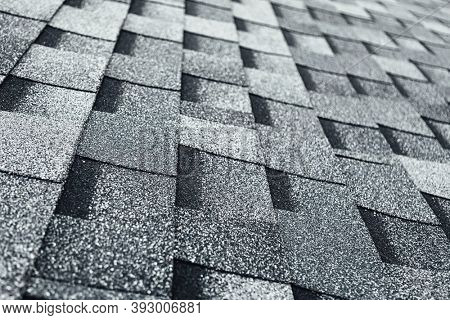 shingles flat polymeric roof-tiles background, close-up view