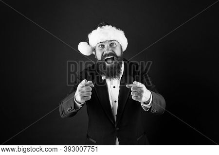 I Need You. Happy Salesman Pointing Fingers. Bearded Man Pointing Dark Background. Pointing Gesture.
